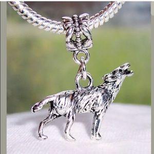 Wolf Dangle Charm Fit Pandora Bracelet